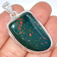 13g Blood Stone 925 Sterling Silver Pendant Jewelry BDSP868