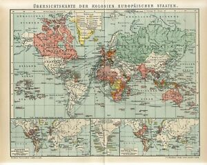 1895 WORLD COLONIES of EUROPEAN COUNTRIES Antique Map