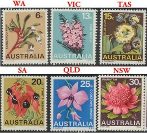 1968 Australian MNH Floral State Emblems Stamp Set of 6 First Wild Flower issues