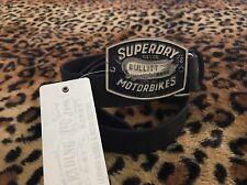 New Superdry Belt Motorbike Silver Bullit  Enamel  M Black