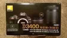 Nikon D3400 Digital SLR Camera - Black w/ DX VR 18-55mm + 70-300 kit NEW IN BOX!