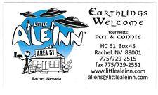 Earthlings Welcome Little A Le Inn Rachel Nevada Business Card Ufo Area 51 Alien