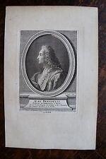 JEAN BERNOULLI . MATHEMATIQUES .PORTRAIT, GRAVURE ORIGINALE , 1760