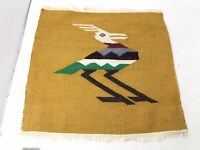 Vintage Flat Weave Wool Woven Bird Wall Hanging Rug Textile South American Art