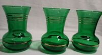 Set of 3 Anchor Hocking Forest Green Gold Rings Flared Neck Bud Vases 3 3/4""