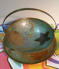 Bronze, Green, Blue & Gold Enamel Nautical Bowl & Plate
