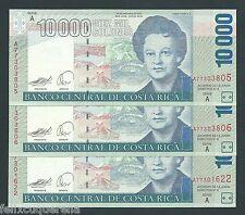 F.C. COSTA RICA , 3 UNIDADES 10000 COLONES 2007 , EBC+ (XF) ,MARCA FAJO ,P.268Ab