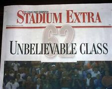 MARK McGWIRE SETS HOME RUN RECORD 1998 Stadium Newspaper - Pre-Steroid Exposure
