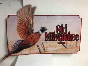 Vintage Large Old Milwaukee Metal Embossed Beer Sign Pheasant Hunting 1992 14x26