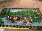 VINTAGE COTTON TAPESTRY BEAUTIFUL HORSES RUNNING IN WATER MADE IN TURKEY 45X32