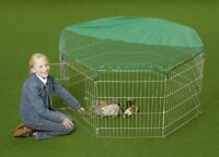 "55"" RABBIT / GUINEA PIG PLAYPEN 8 X PANEL WITH NET RUN PEN ENCLOSURE RUNS HUTCH"