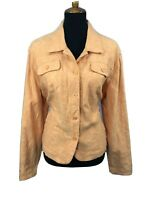 Croft and Barrow Womens Jacket Embroidered Denim Style Stretch Orange Sz XL