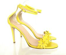 J.CREW Leather Flower High Heel Ankle Strap Sandals 7 Lemon Sorbet Yellow $278