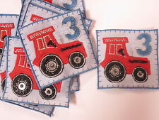 Set of 10 Embroidered 3rd Birthday Boys Tractor Card Making Motifs Patches #2A76