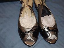 Van DAL Quezon Slingbacks PEEP Toes Wedge Heel Black Patent 5 EE Width Post