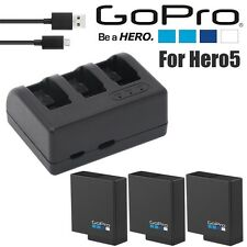 Original 3X 1220mAh Battery + triple charger for Gopro Hero 5 Action Camera