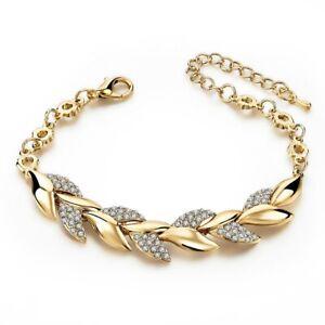 Luxury Women Zircon CZ Crystal Cuff Gold Bracelet Bangle Chain Wedding Jewelry