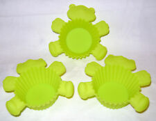 NEW 3 TEDDY BEAR SILICONE CUPCAKE MOULDS REUSABLE CAKE CASES SIL GREEN