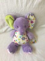 DOUGLAS Baby Plush Lavender Purple ELEPHANT Stuffed Sounds Rattles Flower EUC
