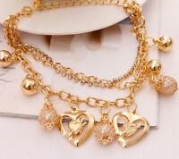 18k Gold Bracelets Bangle Womens Lady Heart Pearl Bell Multi Layer +GiftPkg D107