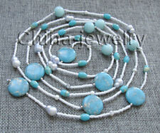 """N8381 - 66"""" 5-9-12-20mm blue freshwater pearl & jade & turquoise necklace"""