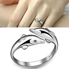 New Silver-Plated Double Dolphin Rings Charm Opening Adjustable Finger Ring FT