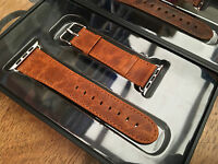 Quality Vintage Orange Leather Watch Strap Band for Apple Watch Series 3 42mm