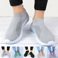 Damen Sportschuh Laufschuhe Strick Fitness Sneaker Slip on Freizeitschuhe Schuhe
