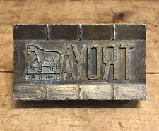 RARE Antique TROYA Heavy Brass Soap Mold Press Industrial Decor Display