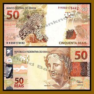 Brazil 50 Reais, 2010 P-256 Leopard Unc