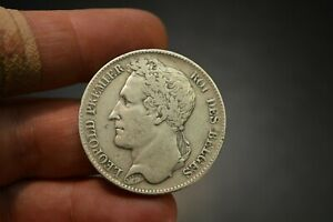 1849 Belgium 5 Francs .900 Fine Silver Coin