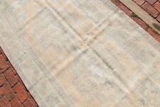BEIGE ANTIQUE Oushak Runner 4'2x8 Turkey Runner Wool Handwoven Faded Rug Carpet