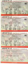 1998/99  Arsenal  Set Of 10 Tickets - Liverpool - West Ham - Newcastle - Everton