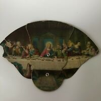 "The Last Supper Vintage Cardboard Foldout Fan Lambert Christian 10"" Litho"