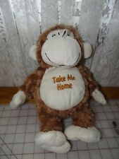 "12"" Dan Dee Brown Monkey ""Take Me Home"" Plush Stuffed Animal - Cute EUC"