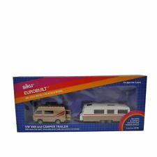 Siku #2518 Eurobuilt 1:55 White/Gold Diecast Volkswagen Van & Camper Trailer Car