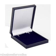 SLIM THIN BLUE LEATHERETTE EARRINGS / PENDANT BOX 17mm ROYAL MAIL LARGE LETTER