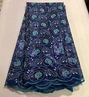 """Blue Silver Sequins embroidery Lace Fabric 50"""" Width Sold By The Yard"""