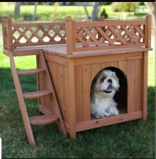 Wooden Dog House Small Pet Animal Indoor Outdoor Supply Staircase Shelter New