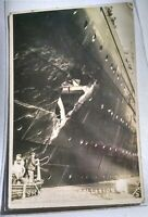 """RMS """"OLYMPIC"""" and H.M.S. """"HAWKE""""  - Real photo postcards"""