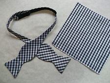 NUOVA Linea Uomo Self Cravatta Dickie Bow Nero Bianco Verificato Papillon & Top Tasca Fazzoletto