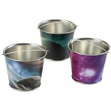 Assorted Outer Space Astronaut Theme Mini Metal Party Buckets (Set of 12)