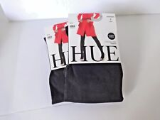 WOMEN'S HUE OPAQUE CONTROL TOP TIGHTS 2 PAIR BLACK PLUS SIZE 4 MADE IN USA