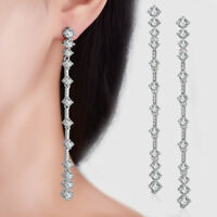 Solid 925 Sterling Silver Natural Zircon Long Tassel Ear Stud Drop Earrings