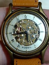 FOSSIL WOMENS GOLDTONE SKELETON WATCH-TAN LEATHER BAND-ROMAN NUMERALS