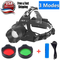 800000LM Rechargeable Head light T6LED Tactical Headlamp Zoomable+USB Line+18650