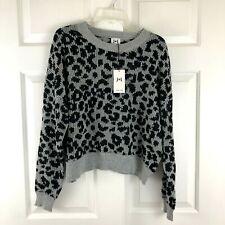 John + Jenn Long-Sleeve Crew-Neck Knit Sweater Gray Black Leopard Medium NWT