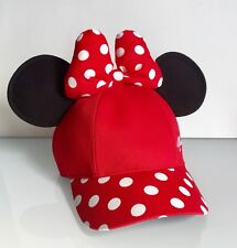NWT Disney Parks Red Polka Dot Red Bow Minnie Ears Baseball Hat Cap - Youth