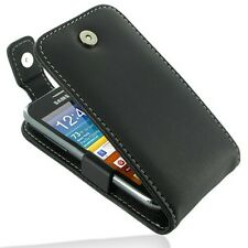 Pdair Hand Made Black Leather Flip Top Case for Samsung Galaxy Ace Plus S7500