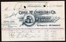 Grocers Tea Coyle Mc Candlish & Co Philadelphia PA 1891 Vintage Billhead Rare